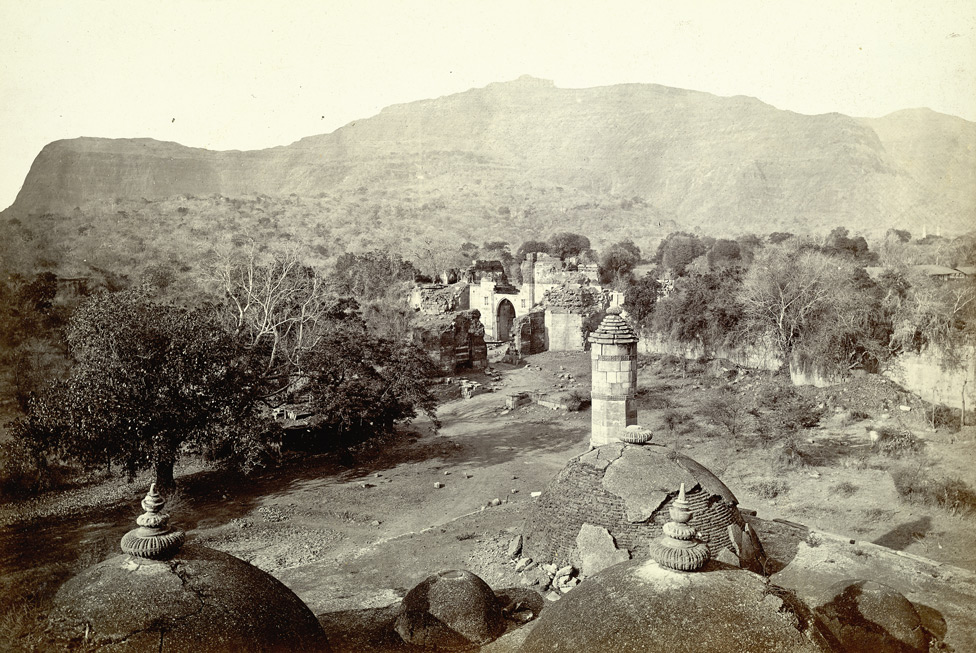 Ruins and Pawagadh Hill from the north-west corner of the Jami Masjid, Champaner